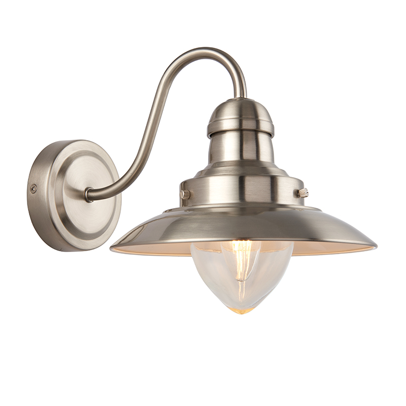 Glacia Wall Light Brushed Chrome 40w : Endon 60800 - Mendip 1Lt Wall 40W Satin Nickel Effect Plate And Clear Glass Indoor Wall Light