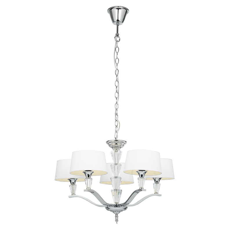 Glacia Wall Light Brushed Chrome 40w : Endon Fiennes-5Ni - Fiennes 5Lt Pendant 40W Chrome Effect Plate And White Tc Fabric Indoor ...
