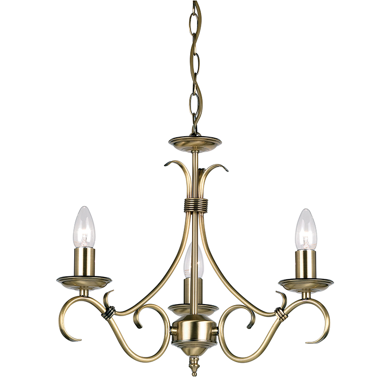 Bernice 3Lt Pendant 60W Antique Brass