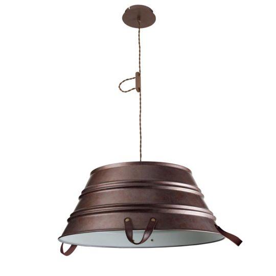 LEDS C4 00-2710-CG-16 Bucket Steel/Aluminium Old Brown/Off-White Pendant