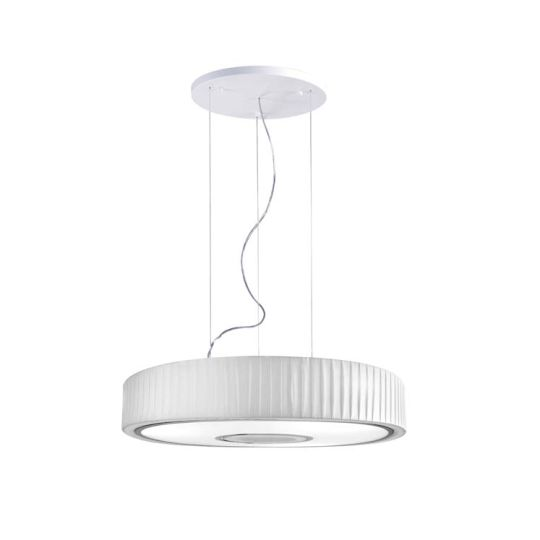 GROK Lighting - SPIN Pendant, White Pleated Fabric Shade with Chrome trim - 00-4601-21-14