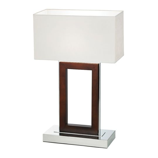 Endon 0195-Dw - Portal Table 60W Dark Wood And Cream Faux Suede Indoor Table Light