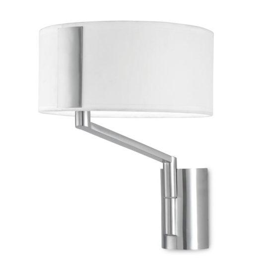 LA CREU Lighting - TWIST Wall Light, Satin Nickel, White Fabric Shade - 05-2817-81-14
