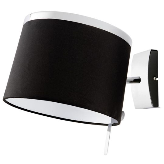 LA CREU Lighting - VIRGINIA Wall Light, Chrome, Black Fabric Shade - 05-4339-21-05