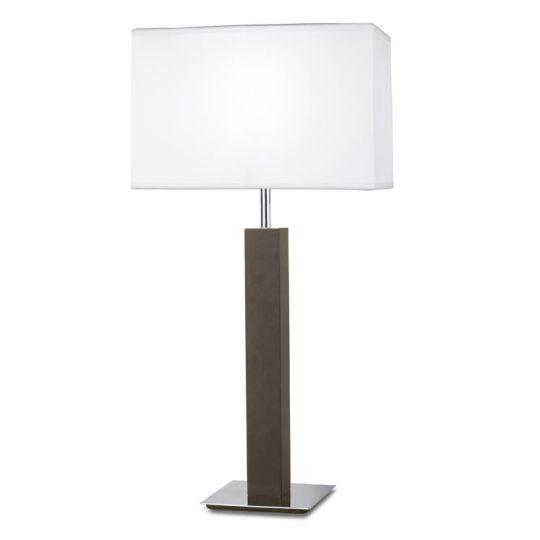 LEDS C4 10-2825-21-82 Devon Steel/Wenge-Colored Finish Chrome Table Lamp
