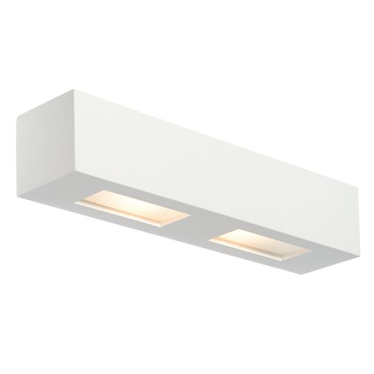 Saxby Lighting White Plaster & Frosted Glass Box 2 Light Wall 28W Wall Light 10400