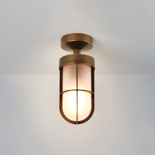 Astro Cabin Semi Flush Frosted Antique Brass Ceiling Light 1368012 (7854)