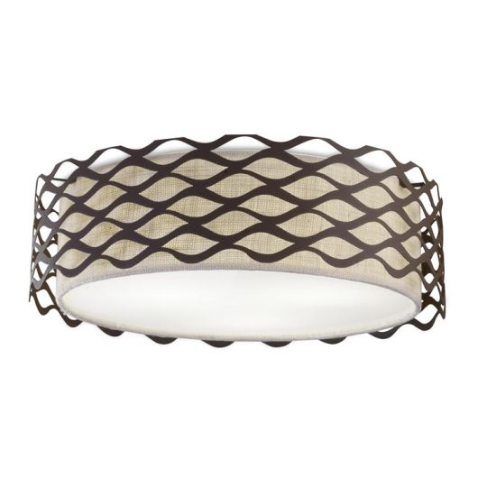 LA CREU Lighting - ALSACIA Ceiling Light, Rusty Brown, Beige fabric Shade - 15-4341-Z6-20