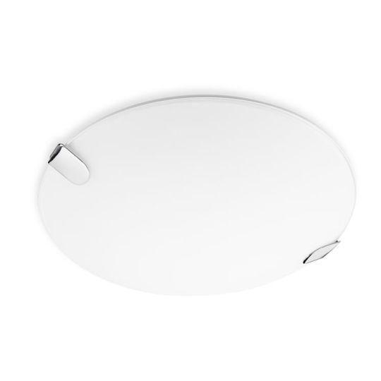 LA CREU Lighting - CLIP Ceiling Light, Chrome Finish with Extra White Glass Diffuser - 15-4682-21-E9