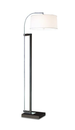 LA CREU Lighting - EXTEND Floor Lamp, Chrome & Painted Brown, White Fabric Shade - 25-2860-Y2-14