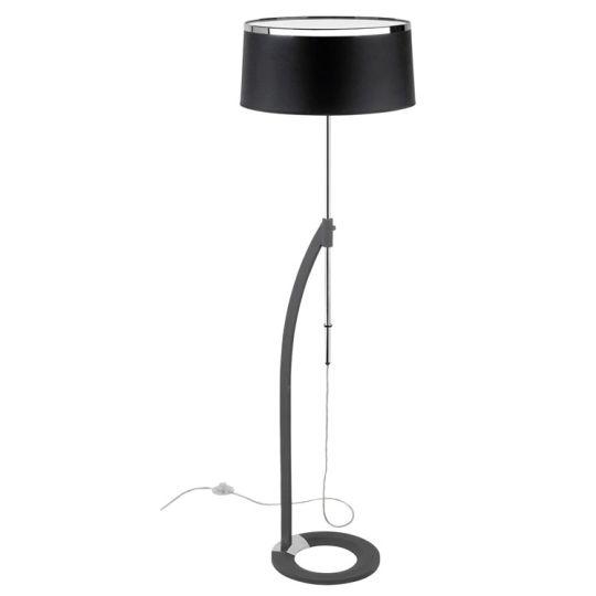 LA CREU Lighting - VIRGINIA Floor Lamp, Chrome, Black Fabric Shade - 25-4339-21-05