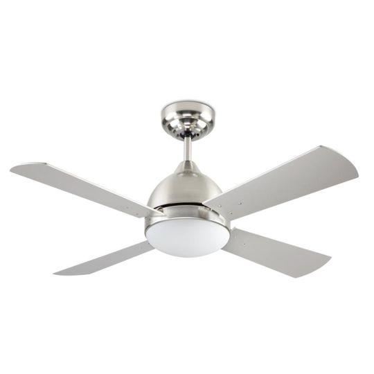 LA CREU Lighting - BORNEO Ceiling Fan, Satin Nickel, Matt Opal Glass - 30-4399-81-F9