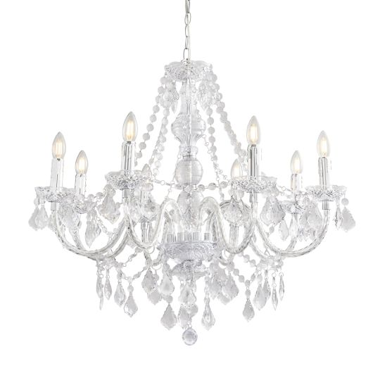 Endon 308-8Cl - Clarence 8Lt Pendant 60W Clear Acrylic And Chrome Effect Plate Indoor Pendant Light