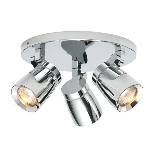 Endon 39167 - Knight Triple Ip44 35W Chrome Effect Plate And Clear Glass Bathroom Spot Light