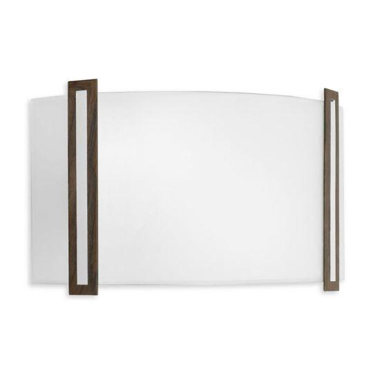 LA CREU Lighting - LUGO Wall Light, Chrome, Satin Glass, Metal Parts Finished In Wenge Wood & Chrome - 479-CR