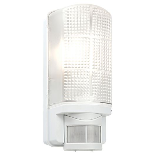 Saxby Lighting Frosted & Gloss White Pc Motion Pir 1 Light Wall Ip44 60W Outdoor Wall Light 48740
