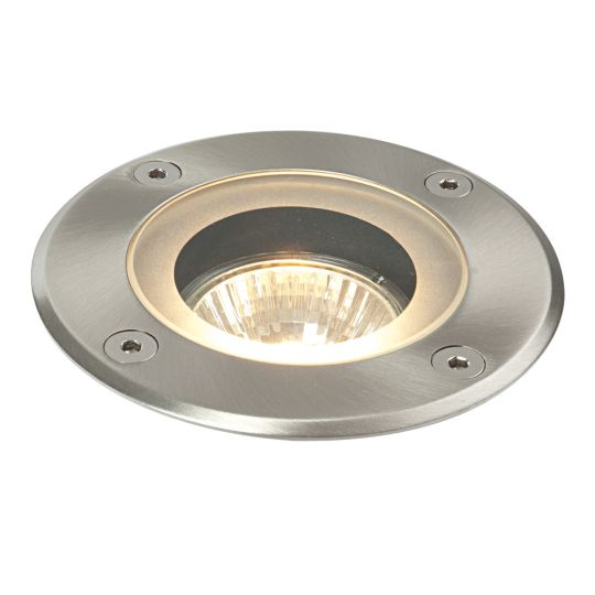 Saxby Lighting Marine Grade Brushed Stainless Steel & Clear Glass Pillar Round Marine Grade Ip65 50W Outdoor Recessed Light 52212