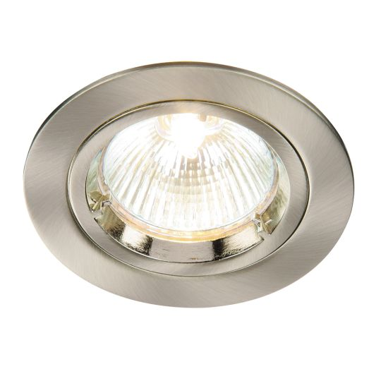 Saxby Lighting Satin Nickel Effect Plate Cast Fixed 50W Recessed Light 52330