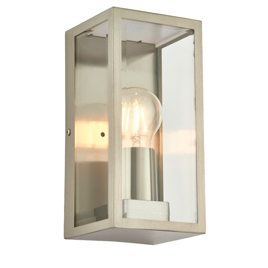 Endon Collection Oxford Brushed Stainless Steel & Clear Glass 1 Light Outdoor Wall Light 53803