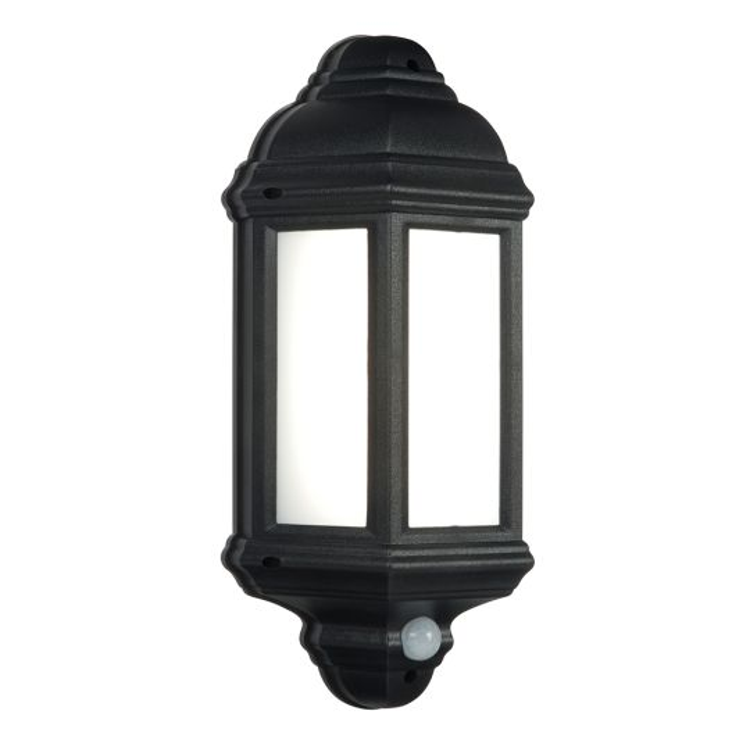 Saxby Lighting Matt Black Textured & Frosted Pc Halbury Pir 1 Light Wall Ip44 7W Outdoor Wall Light 54553