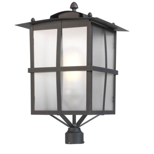 LEDS C4 60-9866-18-M3 Rustica Galvanized Steel Epoxy Finish/Oxide Brown Streetlight Heaa