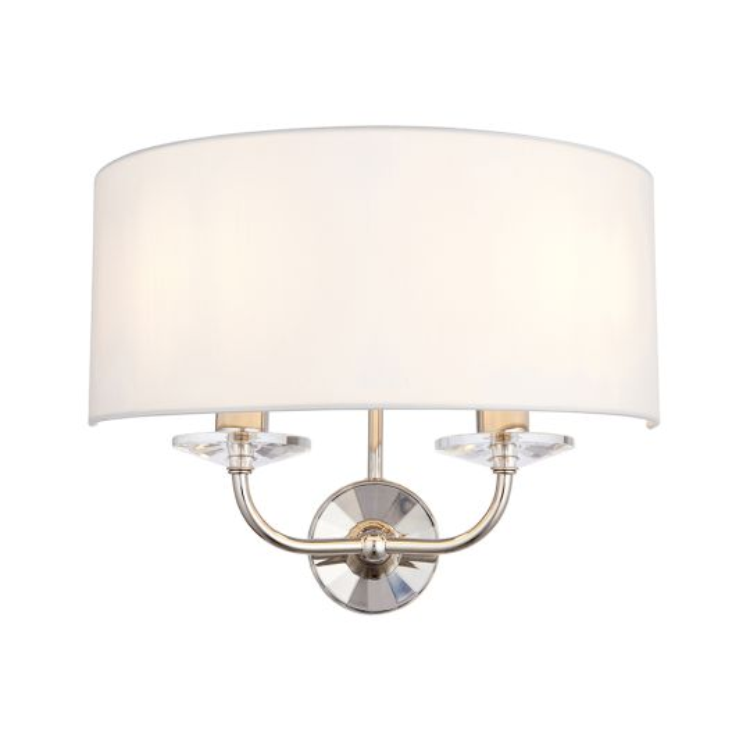 Endon Lighting Nixon Bright Nickel Plate & Vintage White Fabric 2 Light Wall Light 60180