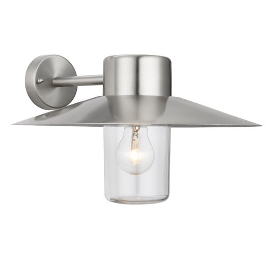 Endon Lighting Fenwick Polished Stainless Steel & Clear Glass 1 Light Outdoor Wall Light 60797