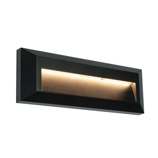 Saxby Lighting Black Abs Plastic & Clear Pc Severus Landscape Indirect Ip65 2W Outdoor Wall Light 61214