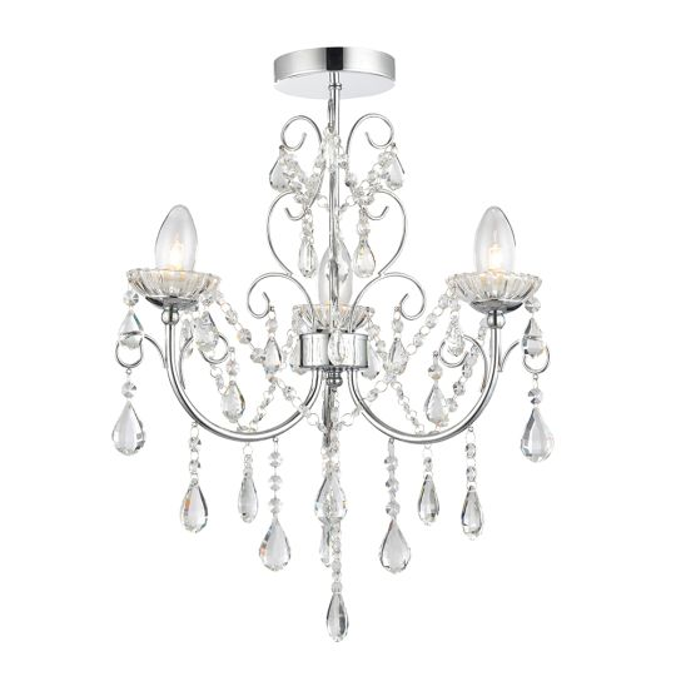 Endon Lighting Tabitha Chrome Plate & Clear Crystal 3 Light Bathroom Semi Flush Light 61251