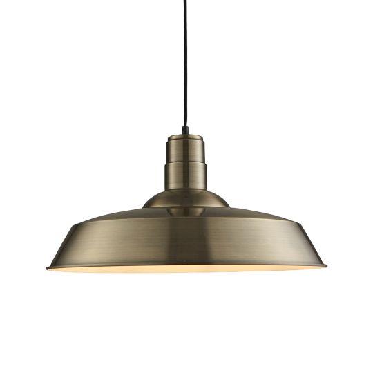 Endon Lighting Moore Antique Brass Plate 1 Light Pendant Light 61283