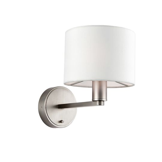 Endon Collection Daley Matt Nickel Plate & Vintage White Fabric 1 Light Wall Light 61608