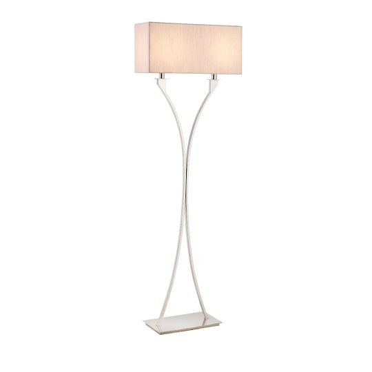Endon Collection Vienna Polished Nickel Plate & Beige Fabric 2 Light Floor Light 63747