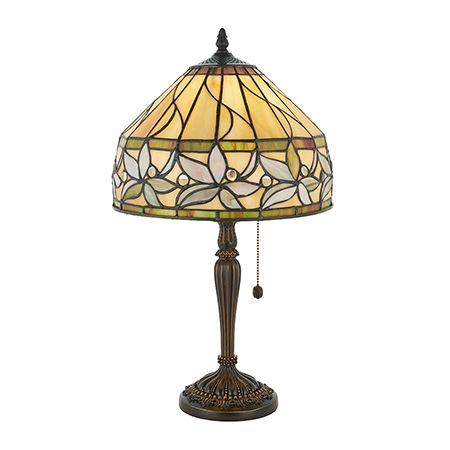 Interiors 1900 Tiffany Glass & Dark Bronze Finish With Highlights Ashtead 1 Light Table 63915