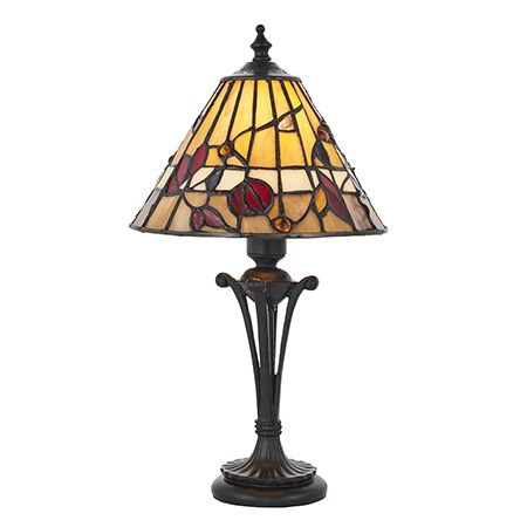 Interiors 1900 Tiffany Glass & Dark Bronze Finish With Highlights Bernwood 1 Light Table 63950