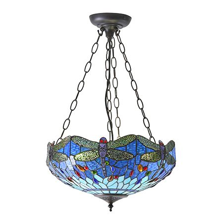 Interiors 1900 Tiffany Glass & Dark Bronze Finish With Highlights Dragonfly Blue 3 Light Pendant 64075