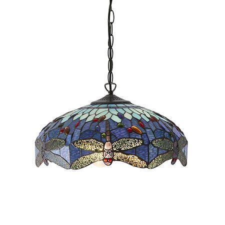 Interiors 1900 Tiffany Glass & Dark Bronze Finish With Highlights Dragonfly Blue 3 Light Pendant 64080