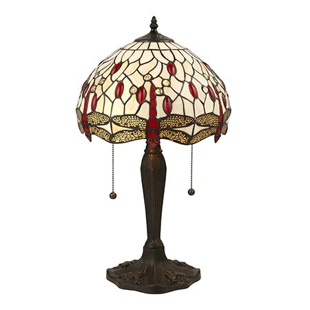 Interiors 1900 Tiffany Glass & Dark Bronze Finish With Highlights Dragonfly Beige 2 Light Table 64086