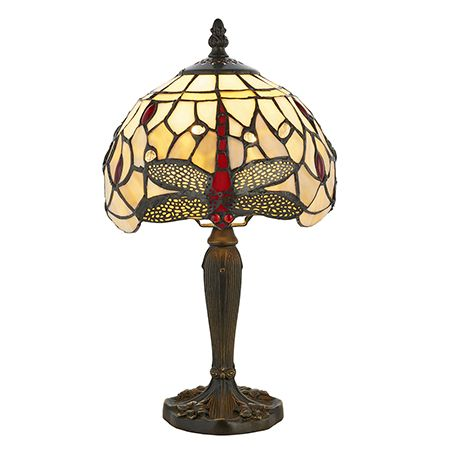 Interiors 1900 Tiffany Glass & Dark Bronze Finish With Highlights Dragonfly Beige 1 Light Table 64087