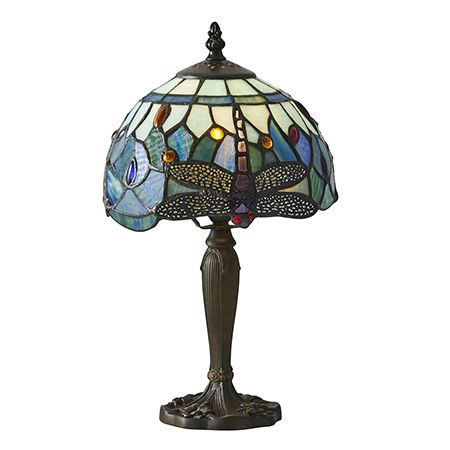 Interiors 1900 Tiffany Glass & Dark Bronze Finish With Highlights Dragonfly Blue 1 Light Table 64088