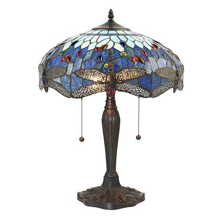 Interiors 1900 Tiffany Glass & Dark Bronze Finish With Highlights Dragonfly Blue 2 Light Table 64089
