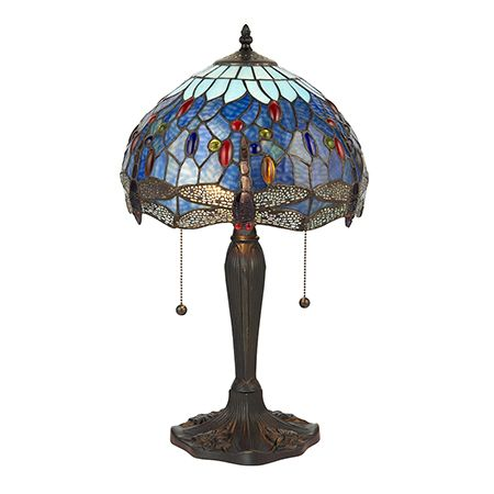Interiors 1900 Tiffany Glass & Dark Bronze Finish With Highlights Dragonfly Blue 2 Light Table 64090