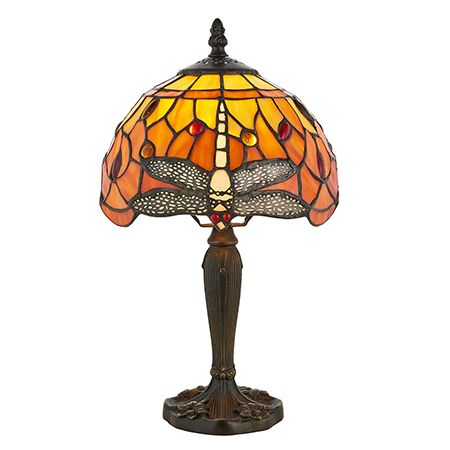 Interiors 1900 Tiffany Glass & Dark Bronze Finish With Highlights Dragonfly Flame 1 Light Table 64091