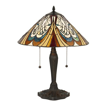 Interiors 1900 Tiffany Glass & Dark Bronze Finish With Highlights Hector 2 Light Table 64163