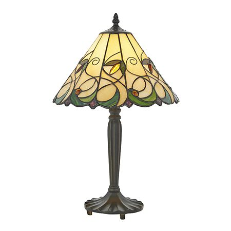 Interiors 1900 Tiffany Glass & Dark Bronze Finish With Highlights Jamelia 1 Light Table 64195