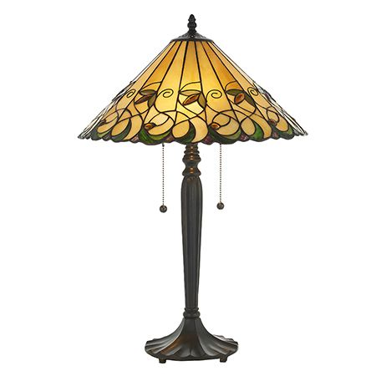 Interiors 1900 Tiffany Glass & Dark Bronze Finish With Highlights Jamelia 2 Light Table 64197