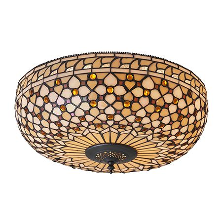 Interiors 1900 Tiffany Glass & Dark Bronze Finish With Highlights Mille Feux 2 Light Flush 64276