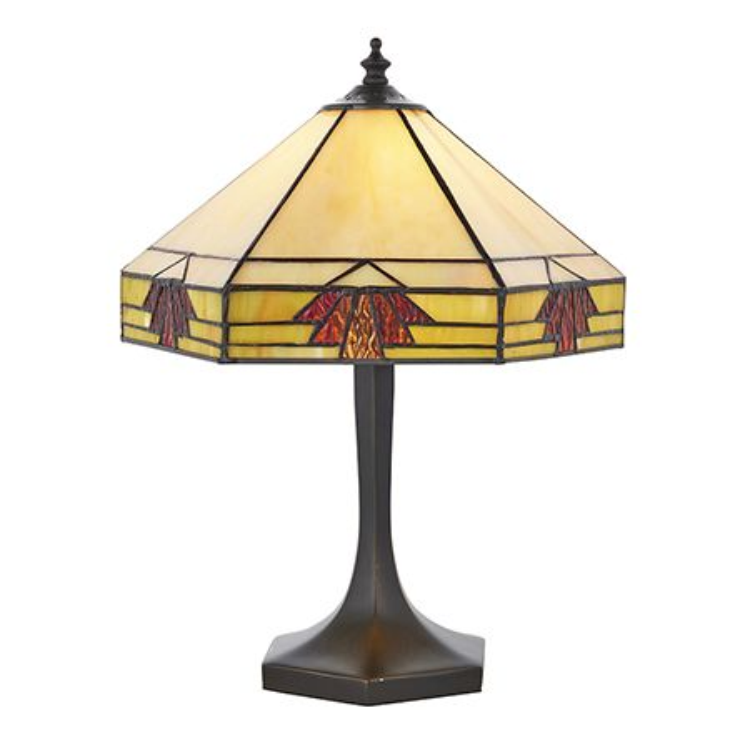 Interiors 1900 Tiffany Glass & Dark Bronze Finish With Highlights Nevada 1 Light Table 64287