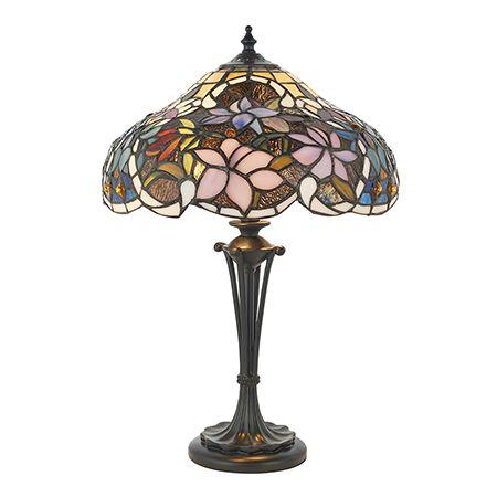Interiors 1900 Tiffany Glass & Dark Bronze Finish With Highlights Sullivan 2 Light Table 64327