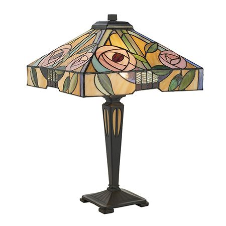 Interiors 1900 Tiffany Glass & Dark Bronze Finish With Highlights Willow 2 Light Table 64387
