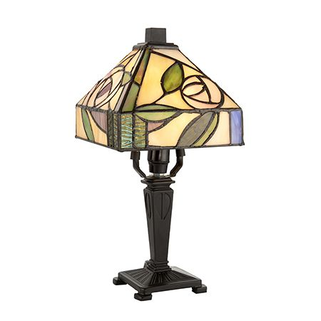 Interiors 1900 Tiffany Glass & Dark Bronze Finish With Highlights Willow 1 Light Table 64388